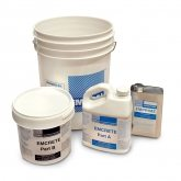 Emcrete comes as kit containing Emprime (primer), resin Parts A & B, and a 5-gallon pail containing the chopped fiberglass and sand aggregate. All you need is one clean, empty 5-gallon pail, a mixer, and your normal tools of the trade.