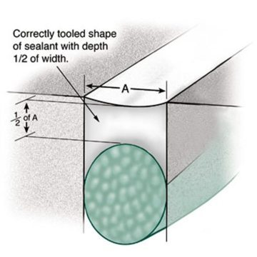Shape and positioning of liquid sealant foam backing material and tooling of liquid sealant achieves a geometry in the cured elastomer that reduces bond-line stresses during joint opening