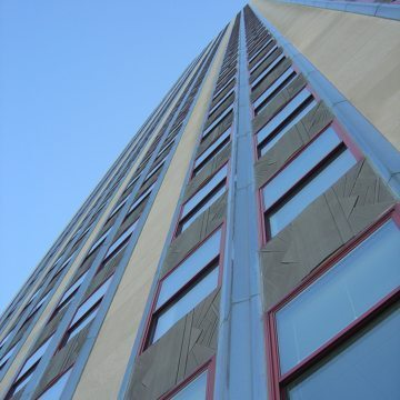 Facade of Empire State Building showing window perimeters treated with Backerseal and liquid sealant