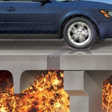 Emshield DFR2 and DFR3 watertight fire rated traffic durable parking expansion joint from EMSEAL